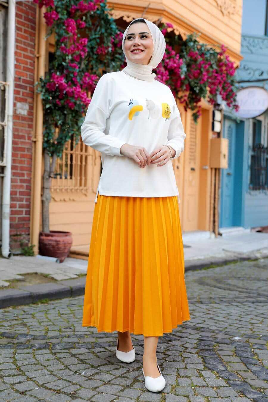 Mustard Hijab Dual Suit Dress 1748HR