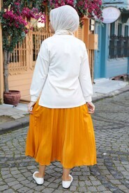 Mustard Hijab Dual Suit Dress 1748HR - Thumbnail