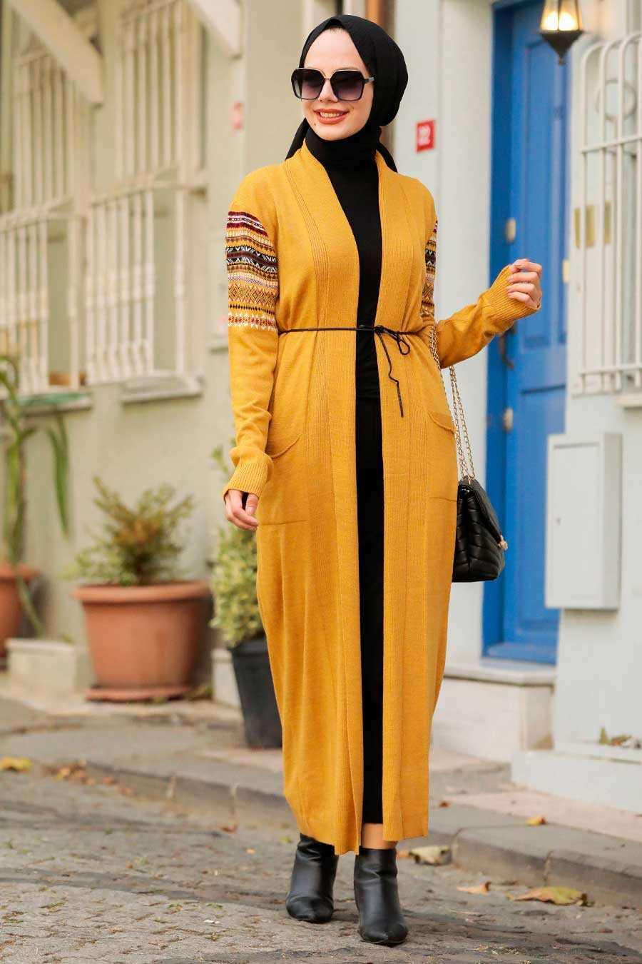 Mustard Hijab Knitwear Cardigan 15725HR