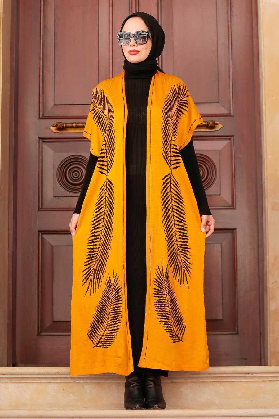 Mustard Hijab Knitwear Suit Dress 3183HR