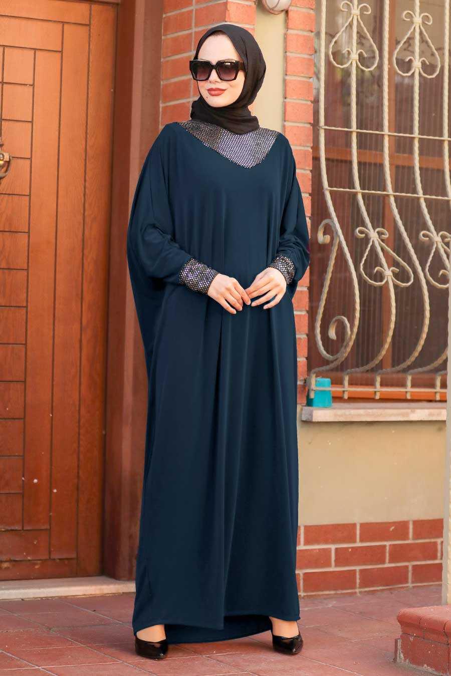 Navy Blue Hijab Dress 10560L