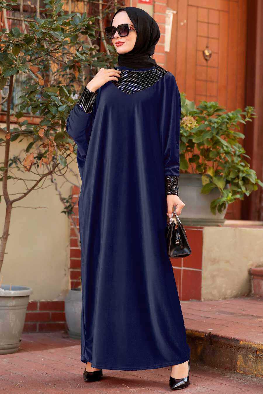 Navy Blue Hijab Dress 10561L
