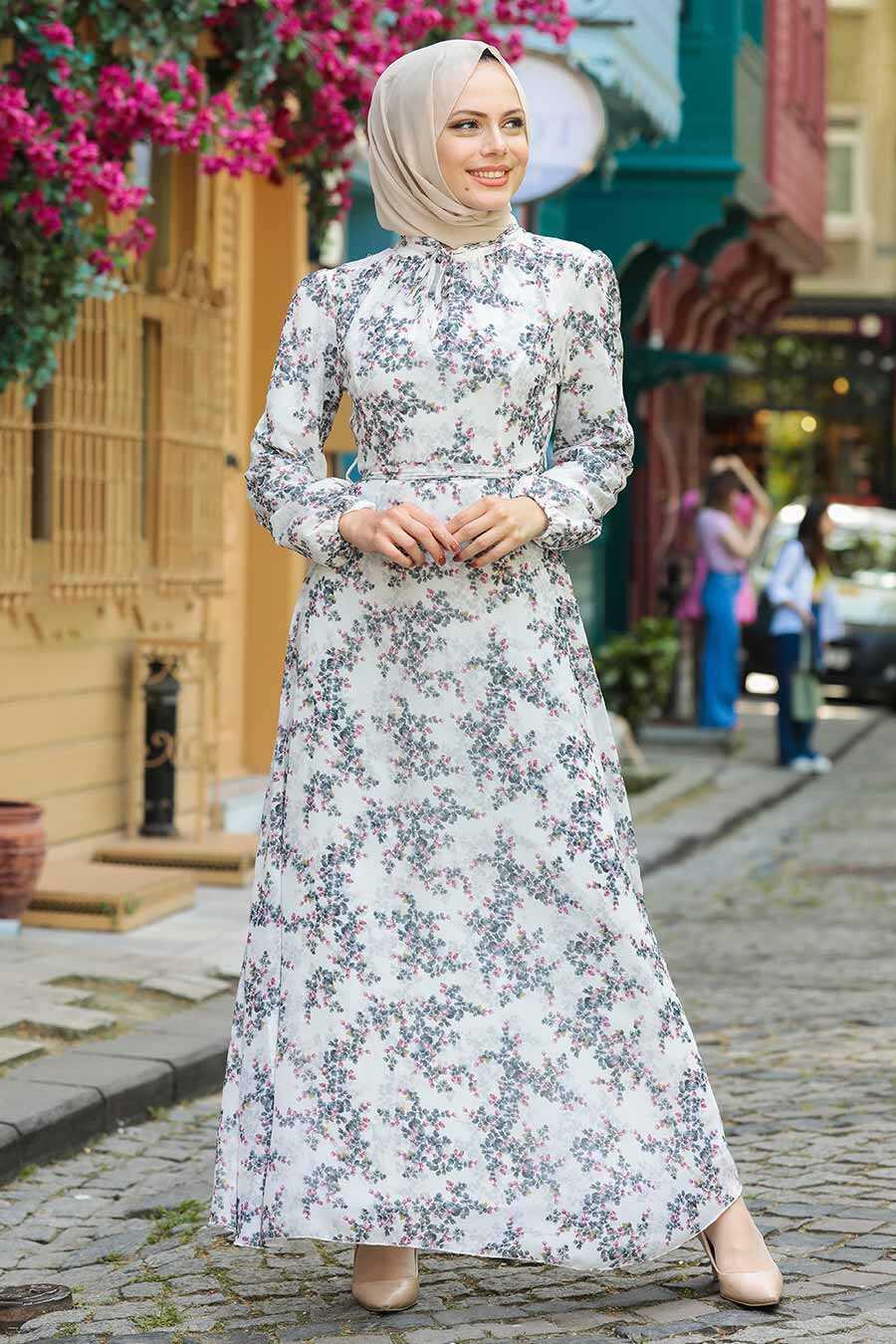 Navy Blue Hijab Dress 279012L