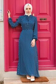 Navy Blue Hijab Dress 27909L - Thumbnail
