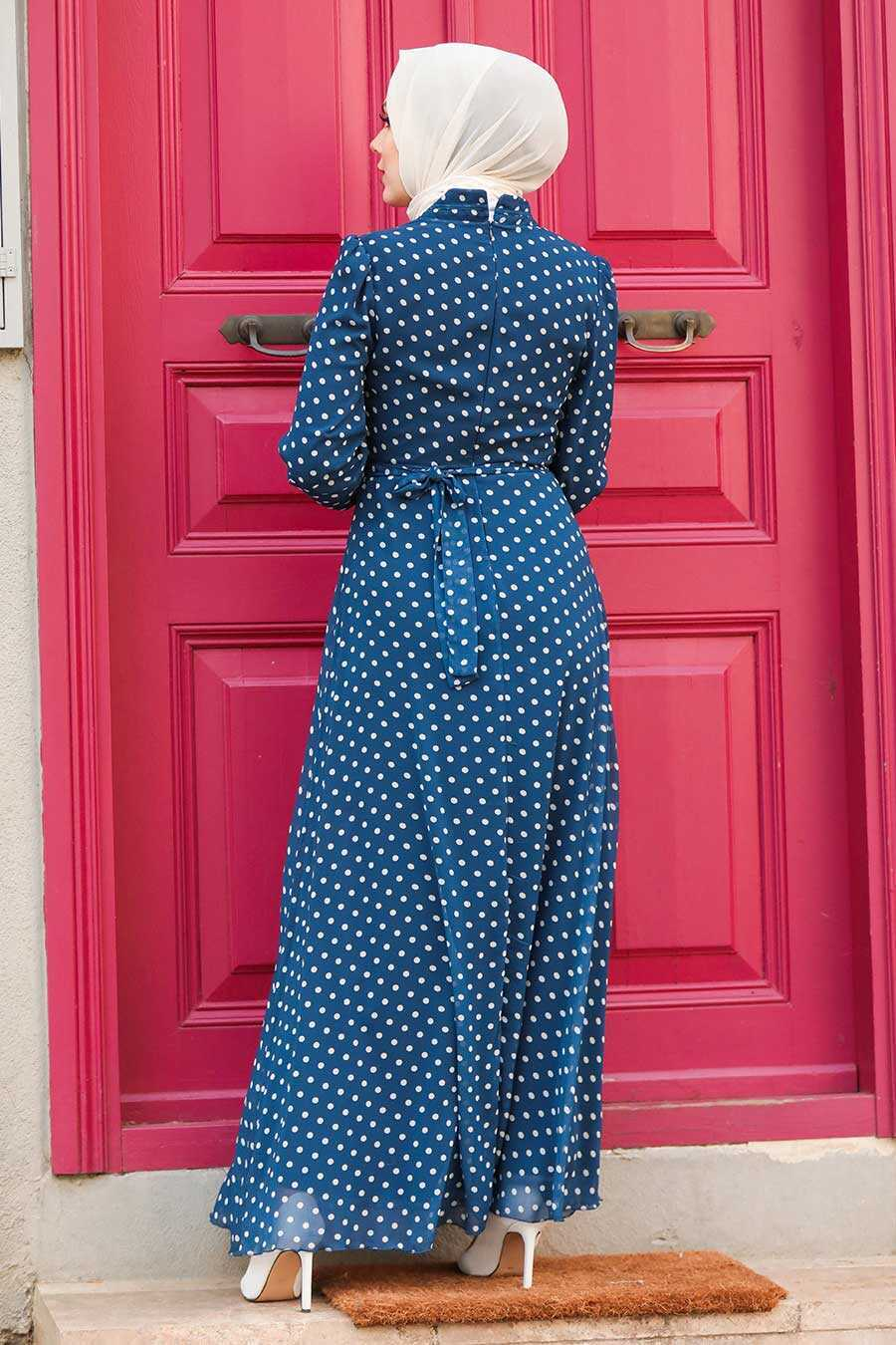 Navy Blue Hijab Dress 27909L