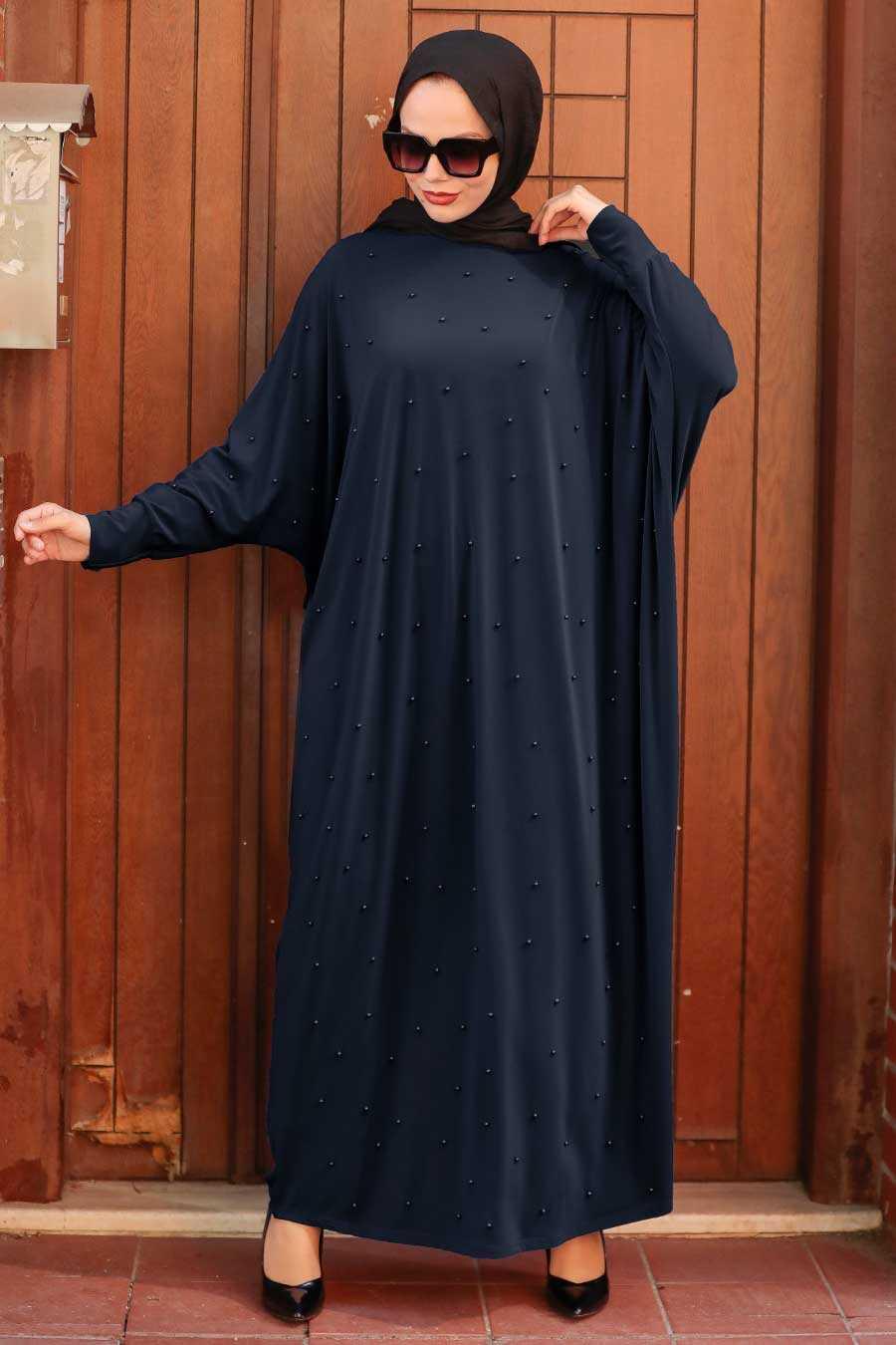 Navy Blue Hijab Dress 4995L