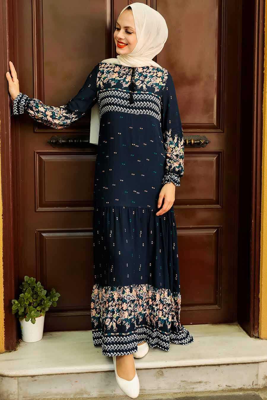 Navy Blue Hijab Dress 5191L