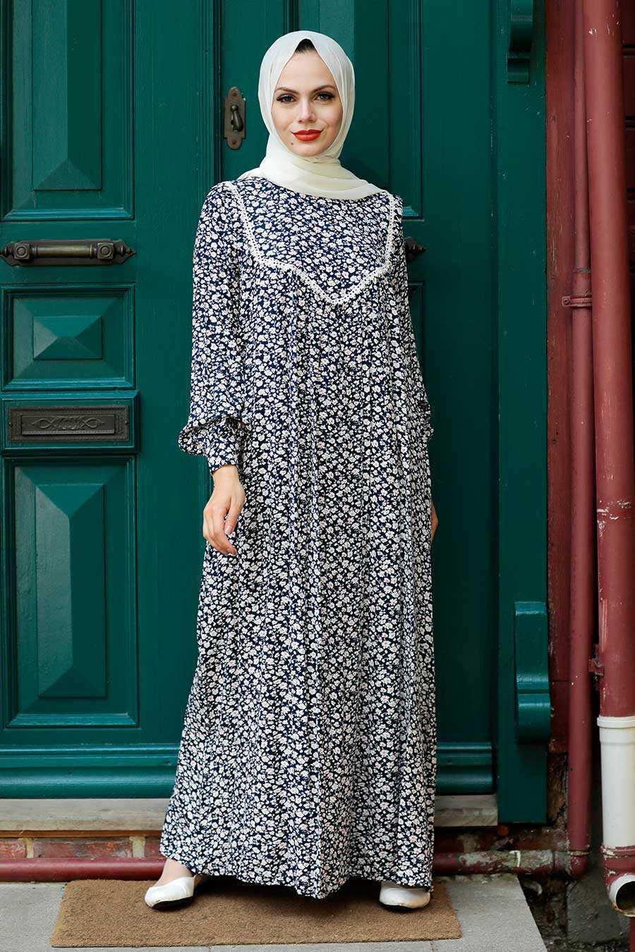 Navy Blue Hijab Dress 7660L