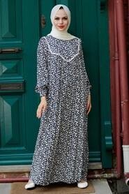 Navy Blue Hijab Dress 7660L - Thumbnail