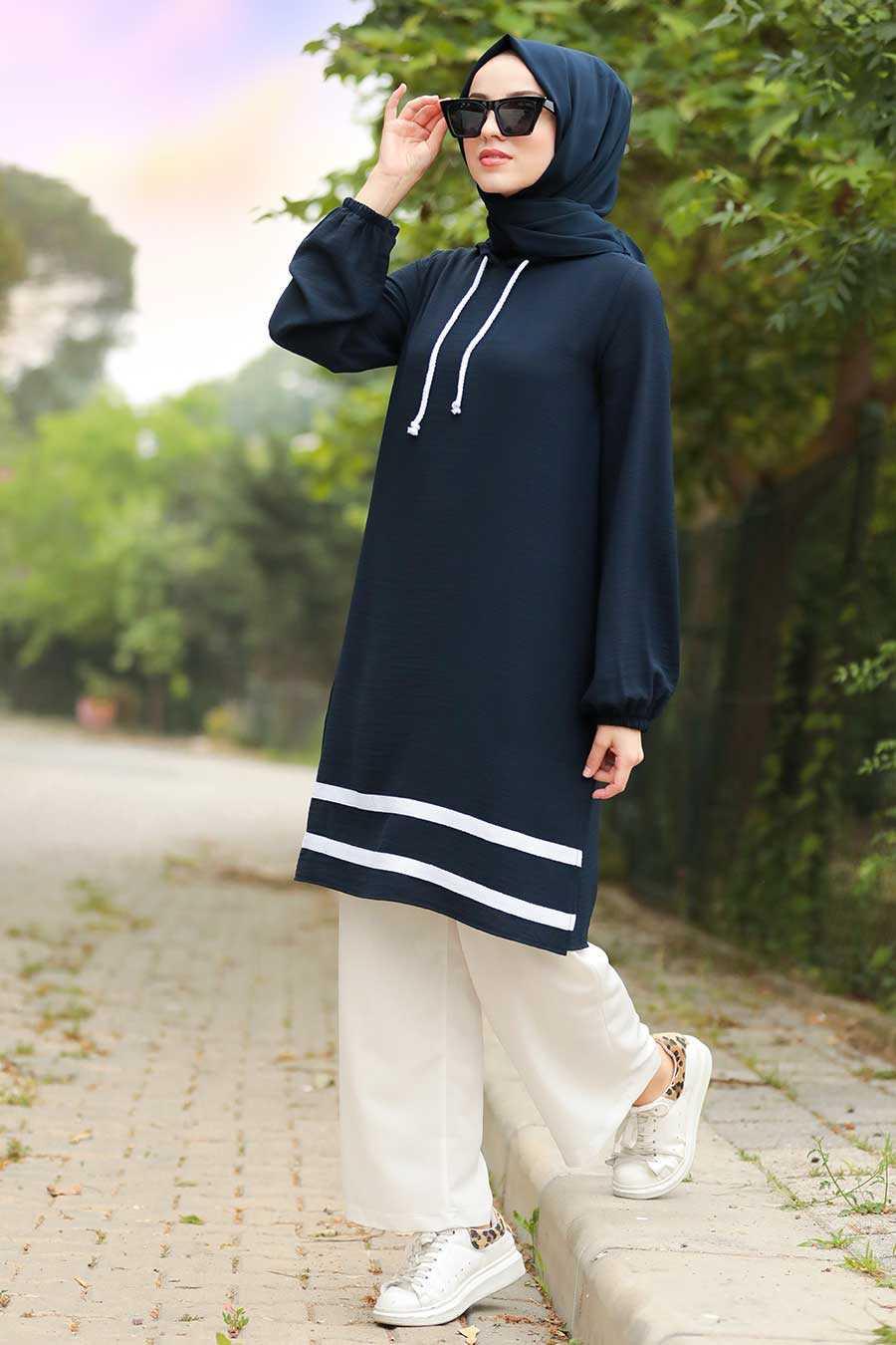 Navy Blue Hijab Dual Suit Dress 10212L