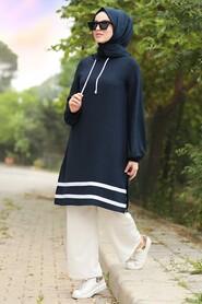 Navy Blue Hijab Dual Suit Dress 10212L - Thumbnail