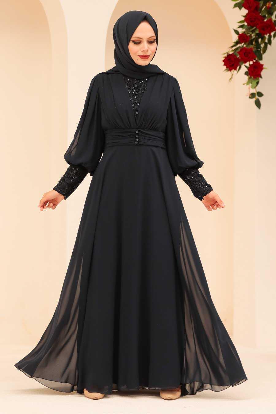 Navy Blue Hijab Evening Dress 25810L