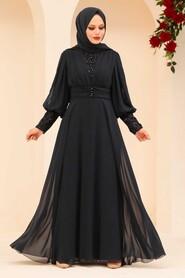 Navy Blue Hijab Evening Dress 25810L - Thumbnail