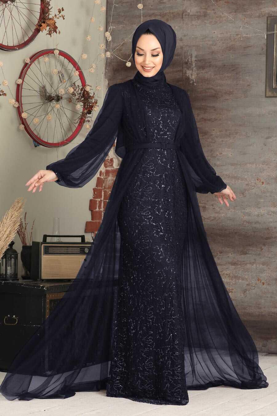 Navy Blue Hijab Evening Dress 5383L