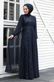Navy Blue Hijab Evening Dress 5408L - Thumbnail