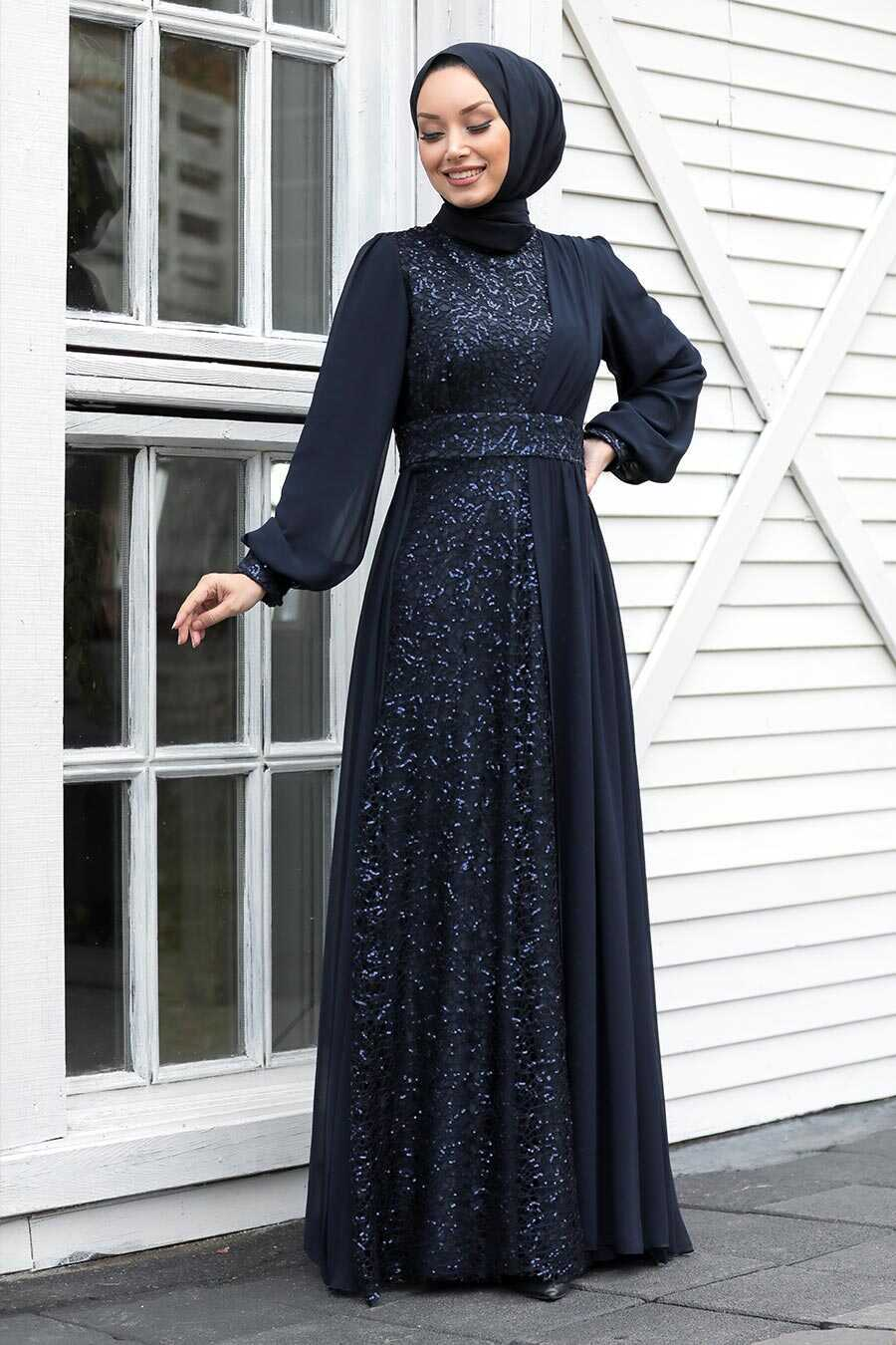 Navy Blue Hijab Evening Dress 5408L