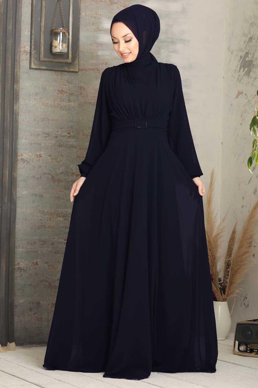 Navy Blue Hijab Evening Dress 5422L