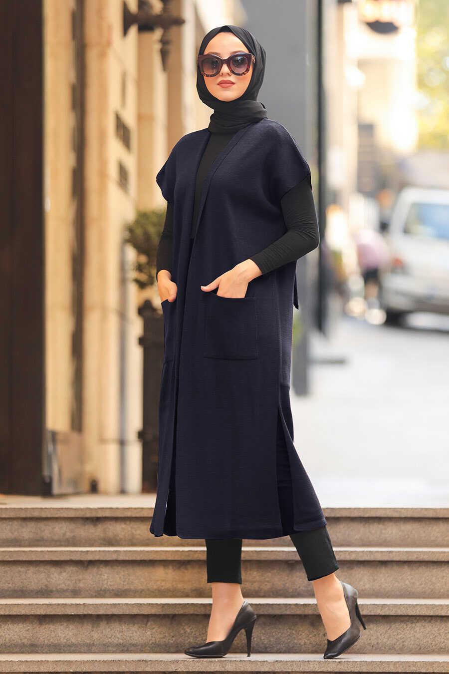 Navy Blue Hijab Knitwear Vest 21920L