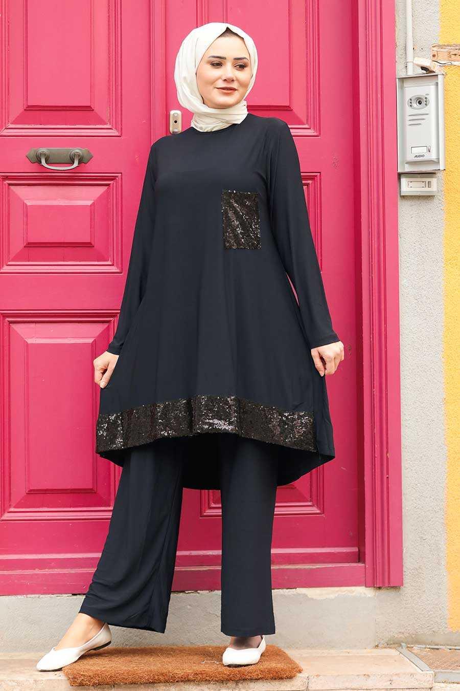 Navy Blue Hijab Suit Dress 1946L