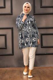 Navy Blue Hijab Tunic 273205L - Thumbnail