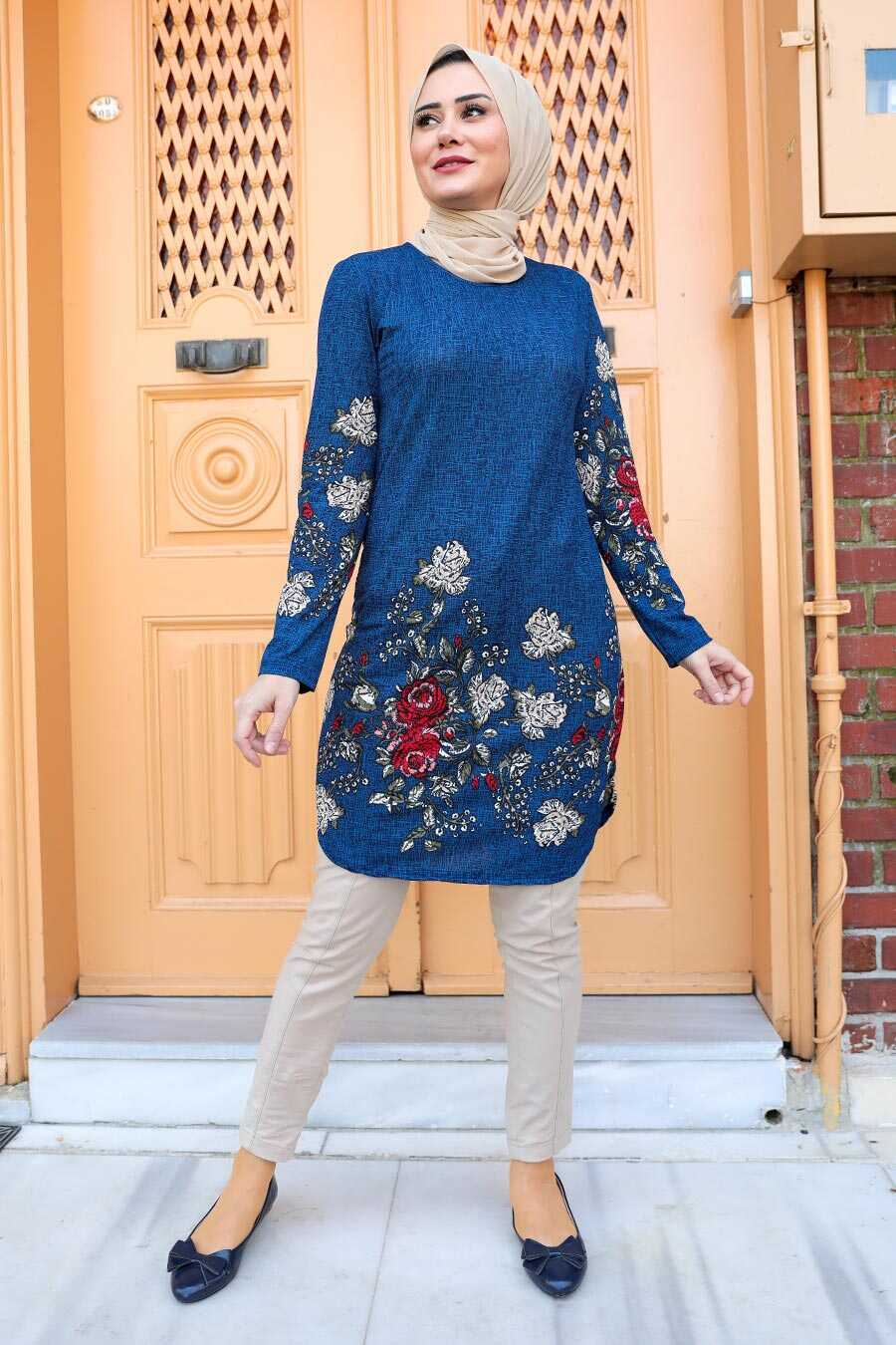 Navy Blue Hijab Tunic 358115L
