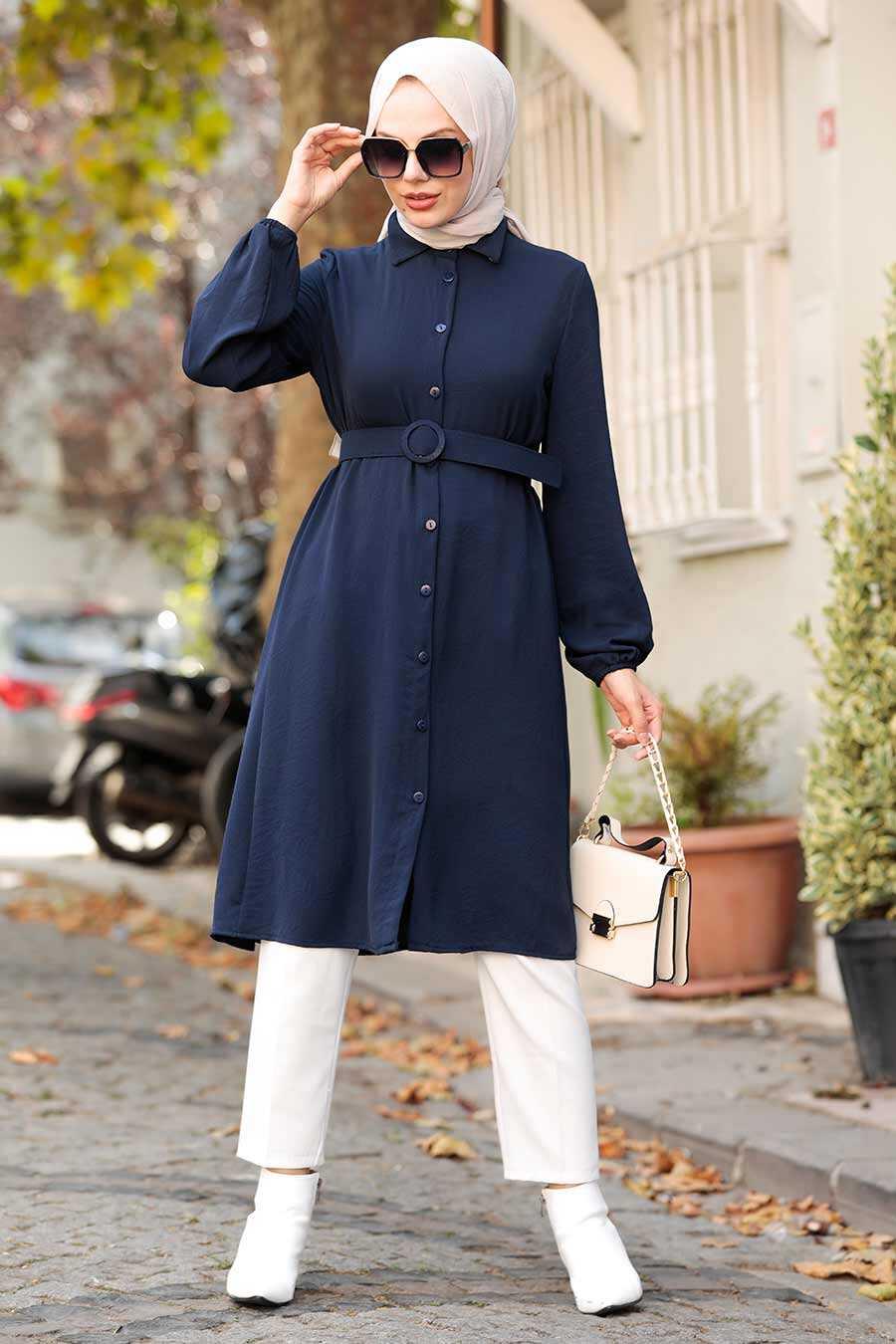 Navy Blue Hijab Tunic 5641L