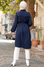 Navy Blue Hijab Tunic 5641L - Thumbnail
