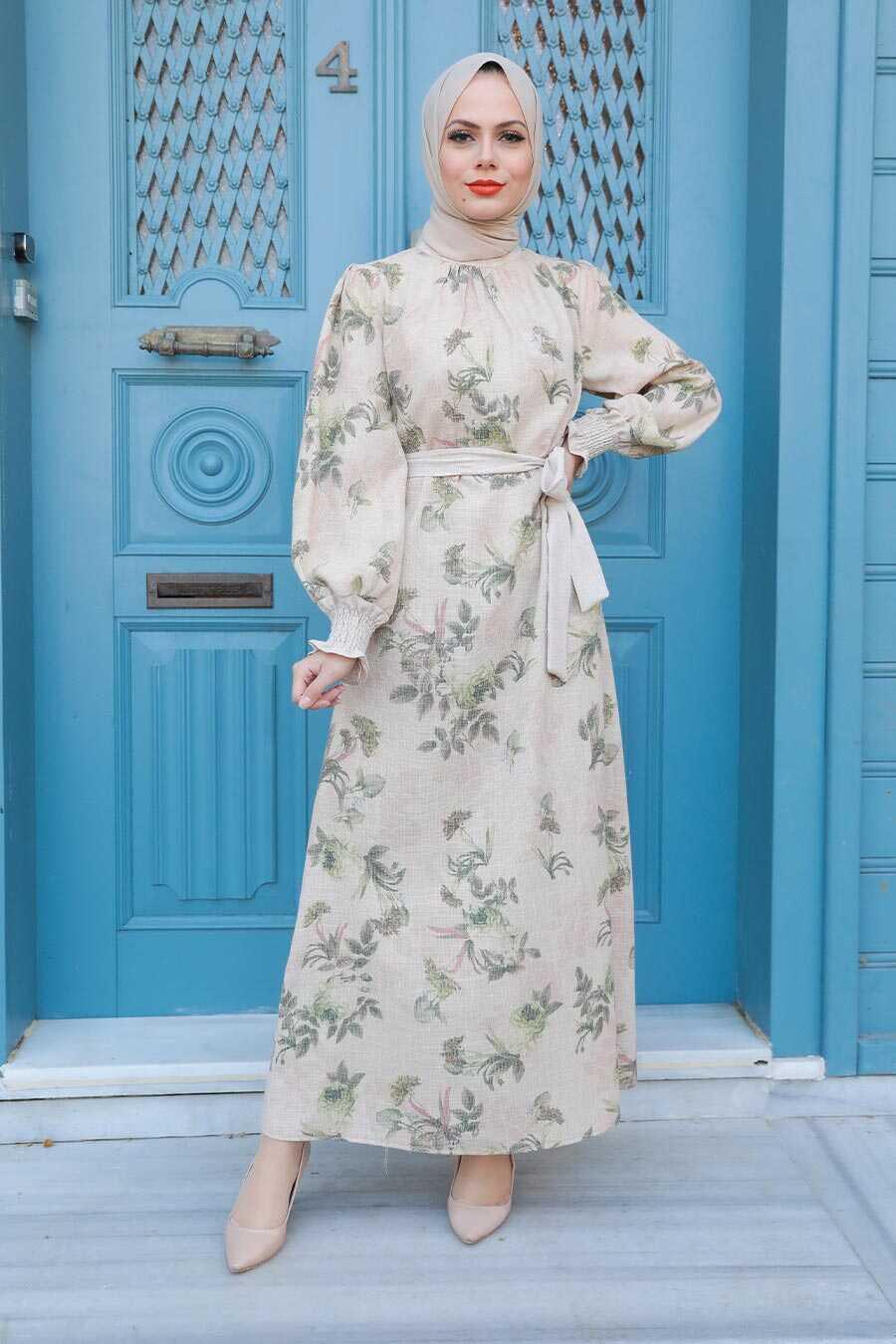 Oil Green Hijab Dress 123401YY