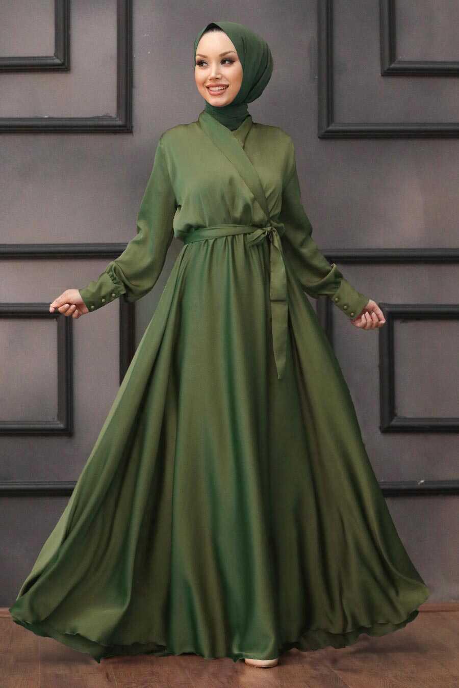 Oil Green Hijab Evening Dress 1418YY