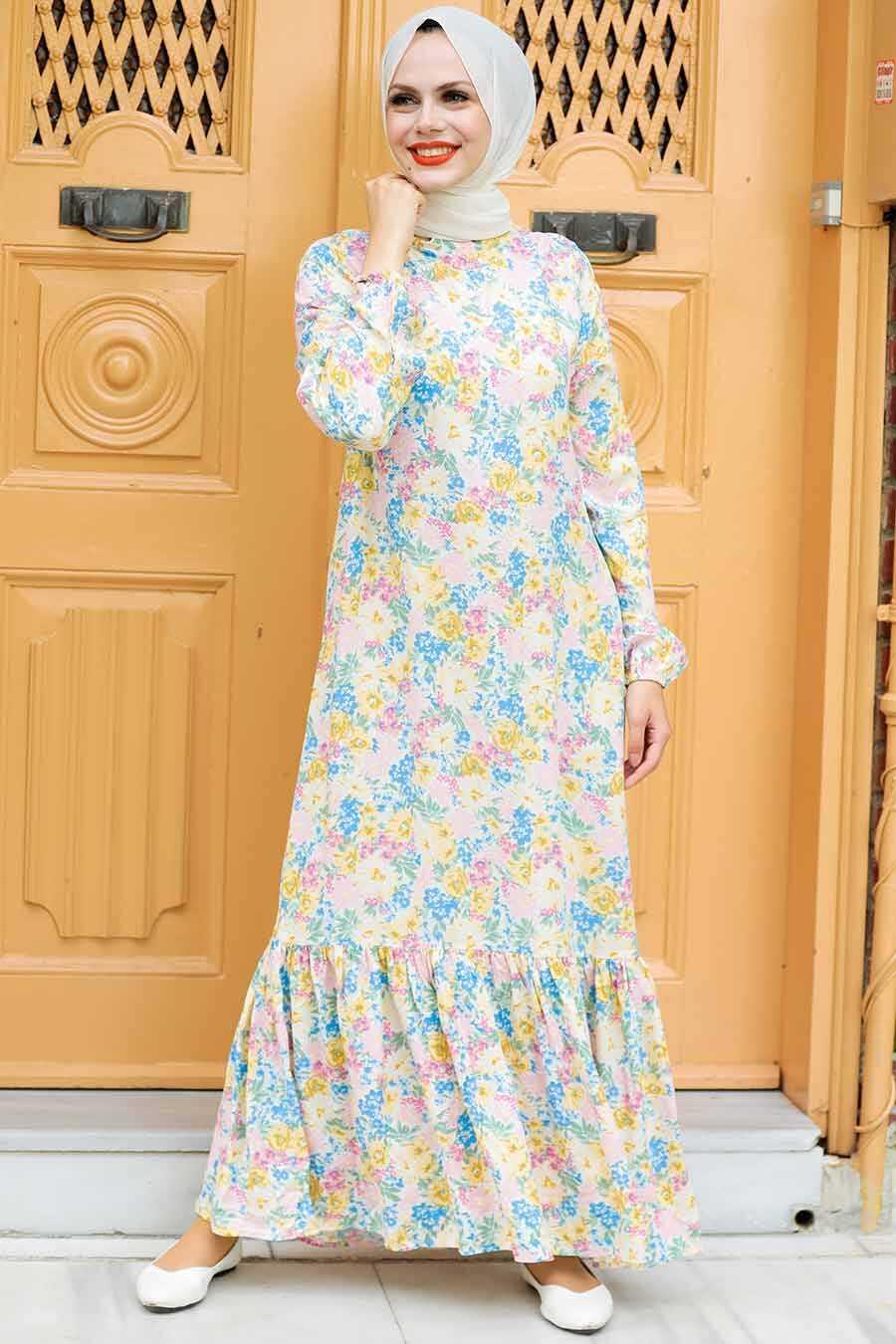 Patterned Hijab Dress 1184DSN