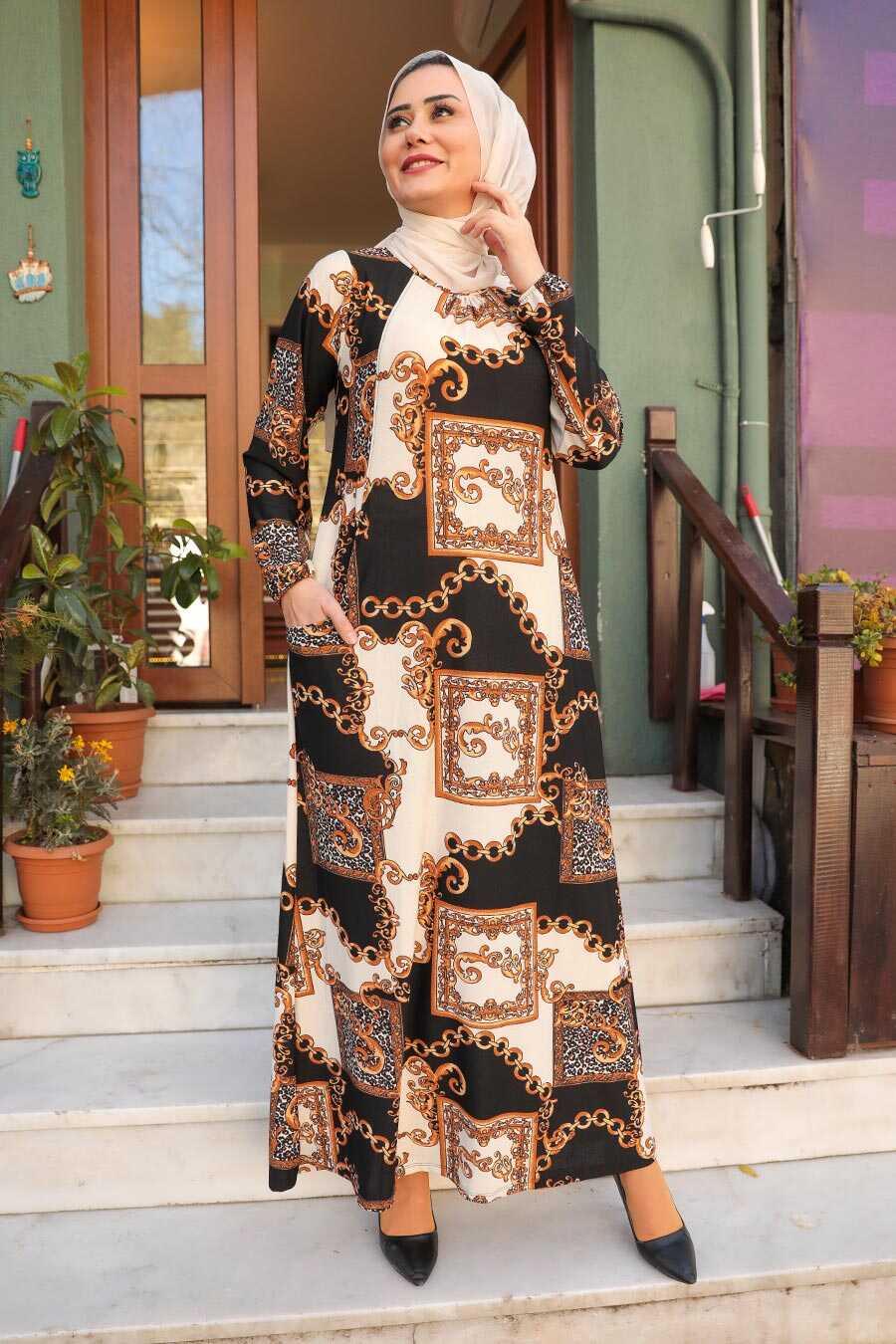 Patterned Hijab Dress 65813DSN
