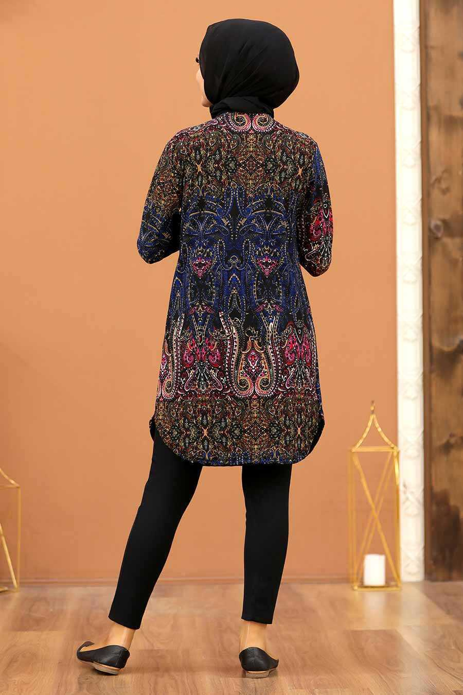 Patterned Hijab Tunic 35818DSN