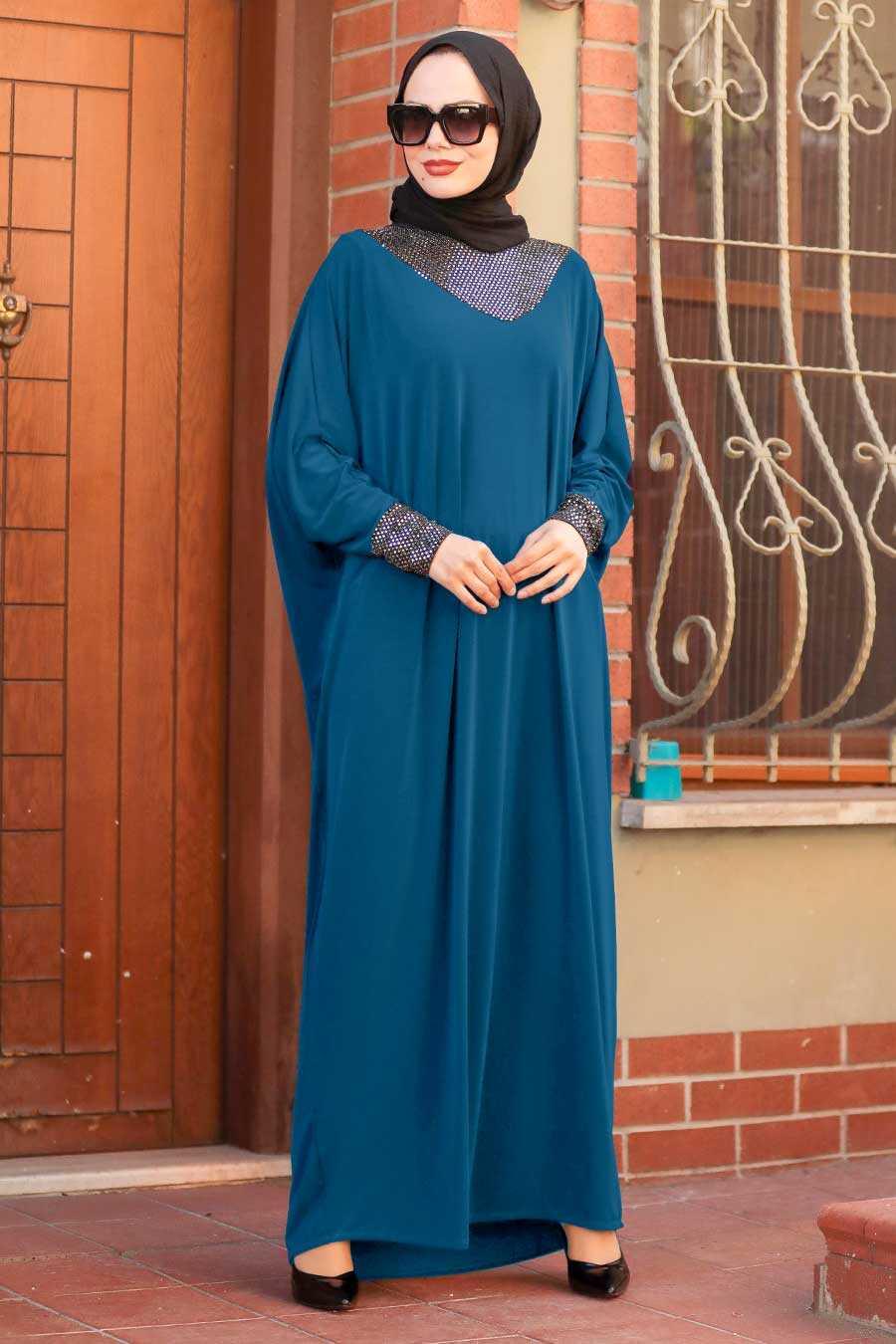 Petrol Blue Hijab Dress 10560PM