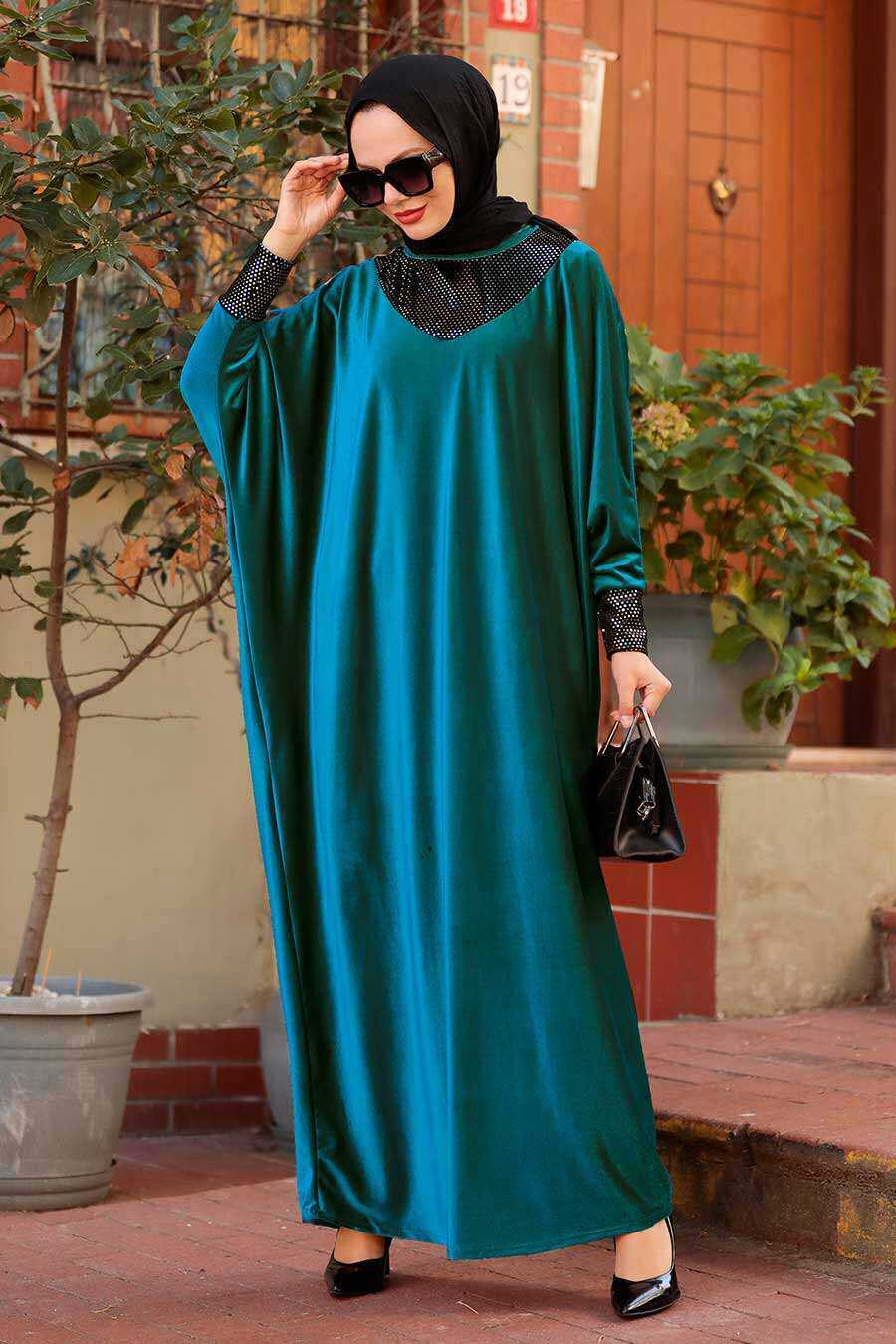 Petrol Blue Hijab Dress 10561PM