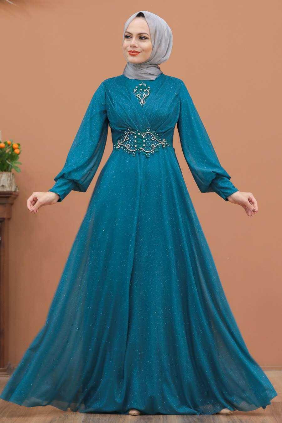 Petrol Blue Hijab Evening Dress 50151PM