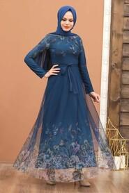 Petrol Blue Hijab Evening Dress 50171PM - Thumbnail