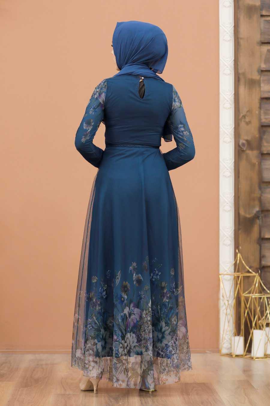 Petrol Blue Hijab Evening Dress 50171PM
