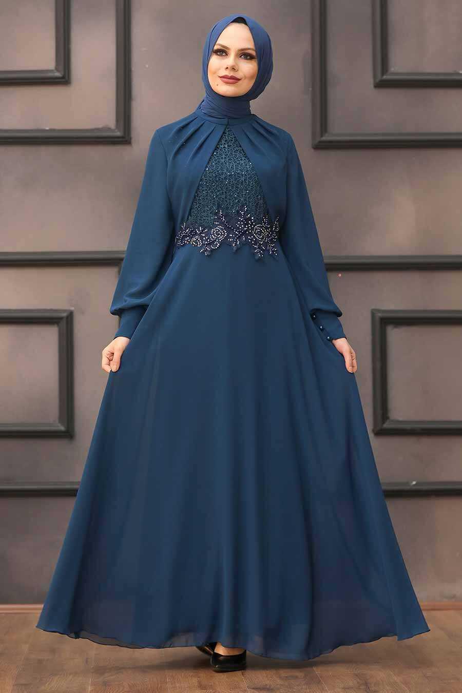 Petrol Blue Hijab Evening Dress 52785PM