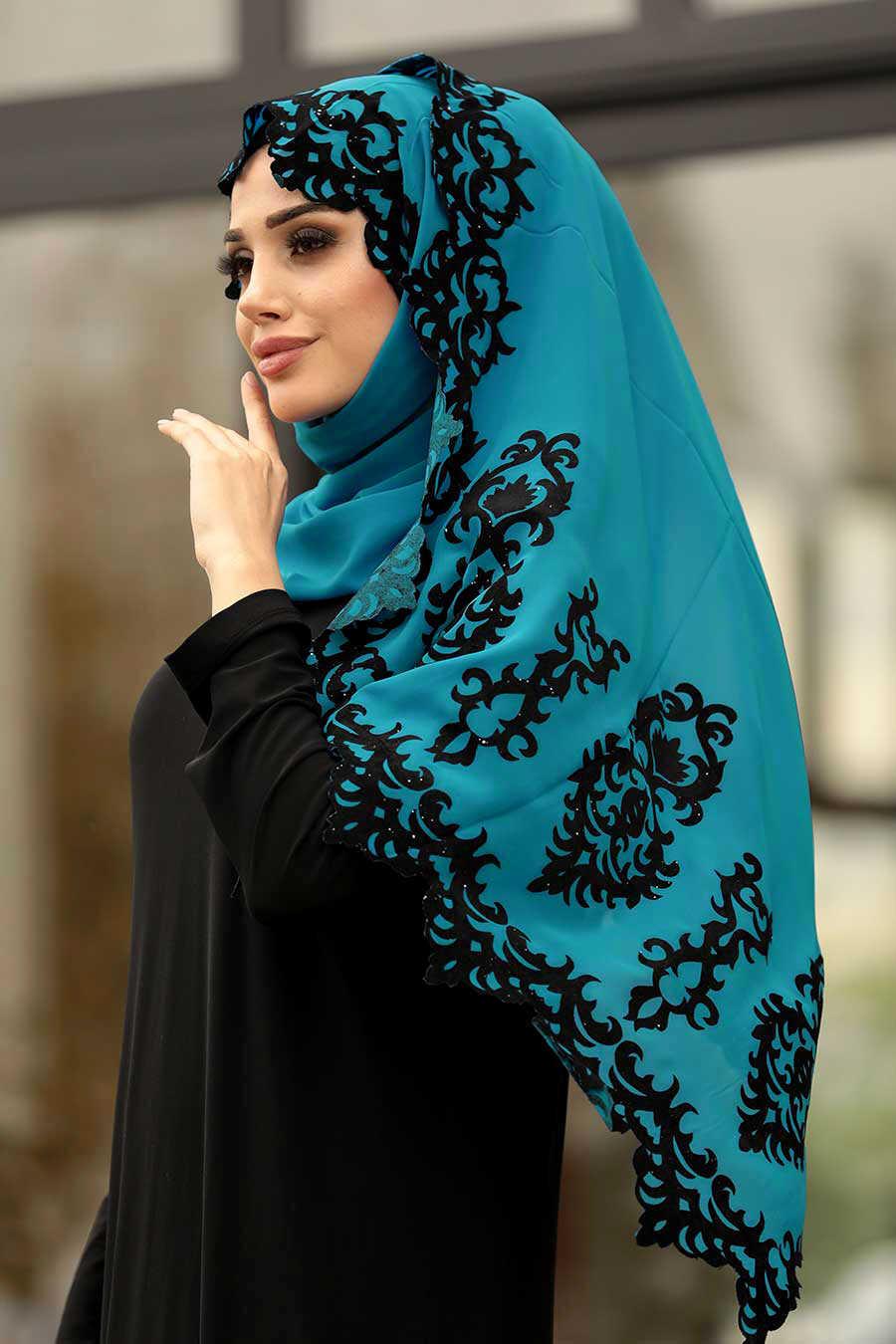 Petrol Blue Hijab Shawl 7493PM