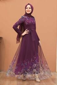 Plum Color Evening Dress 50171MU - Thumbnail