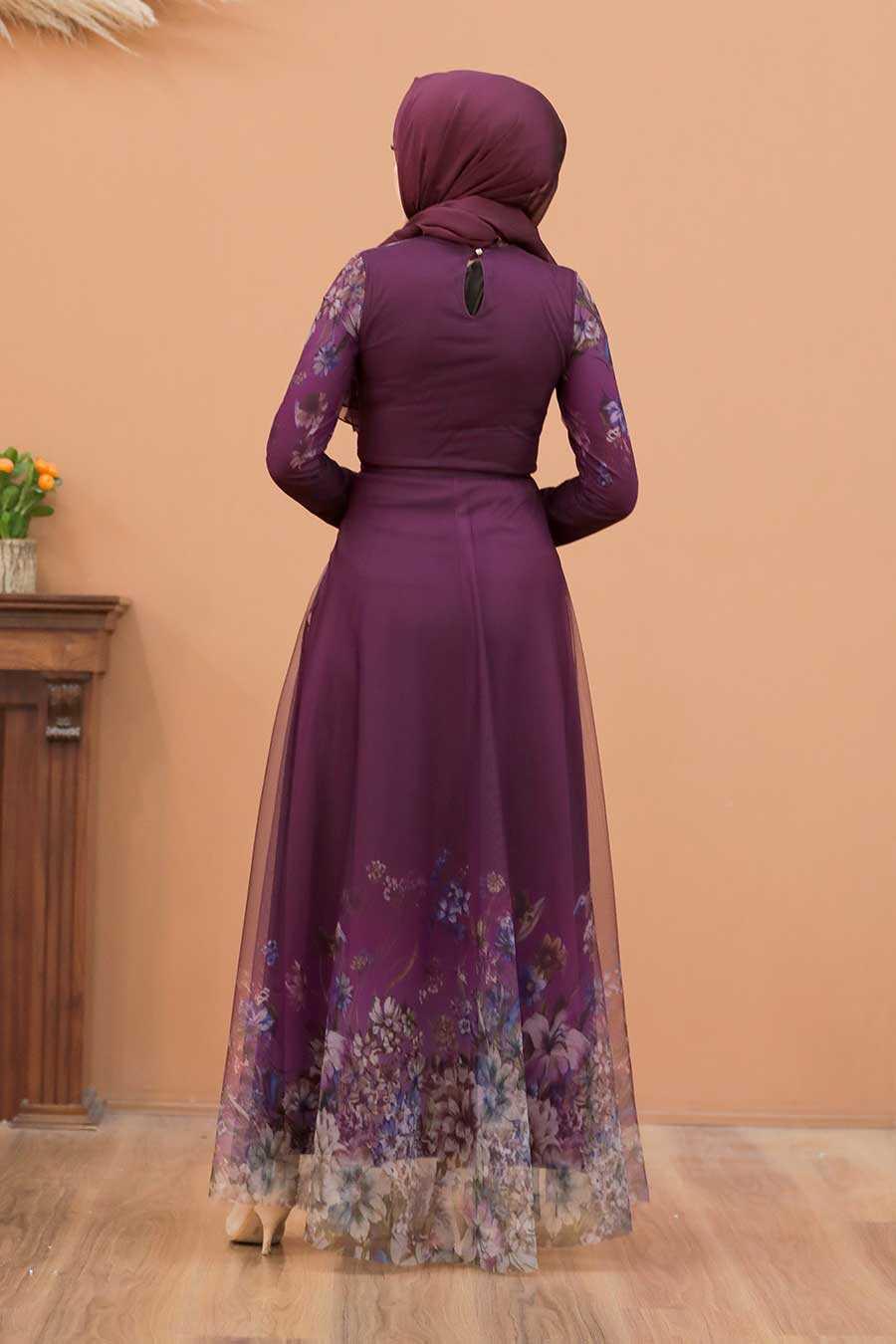 Plum Color Evening Dress 50171MU