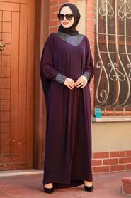 Plum Color Hijab Dress 10560MU - Thumbnail