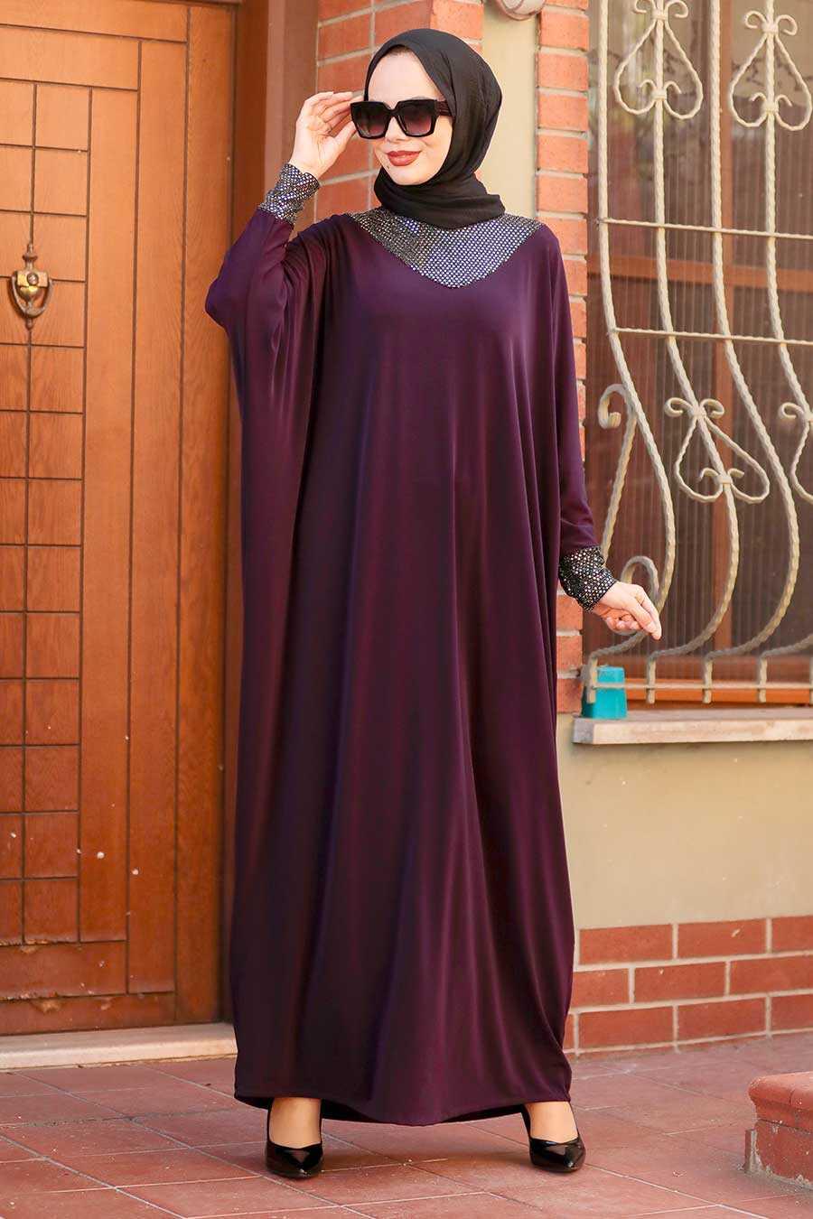 Plum Color Hijab Dress 10560MU