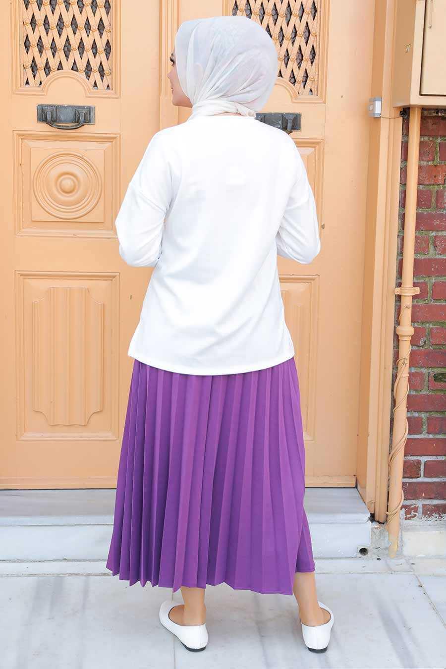 Plum Color Hijab Dual Suit Dress 1748MU