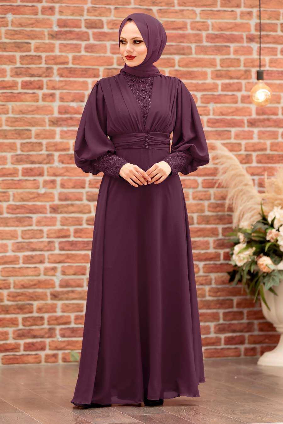 Plum Color Hijab Evening Dress 25810MU