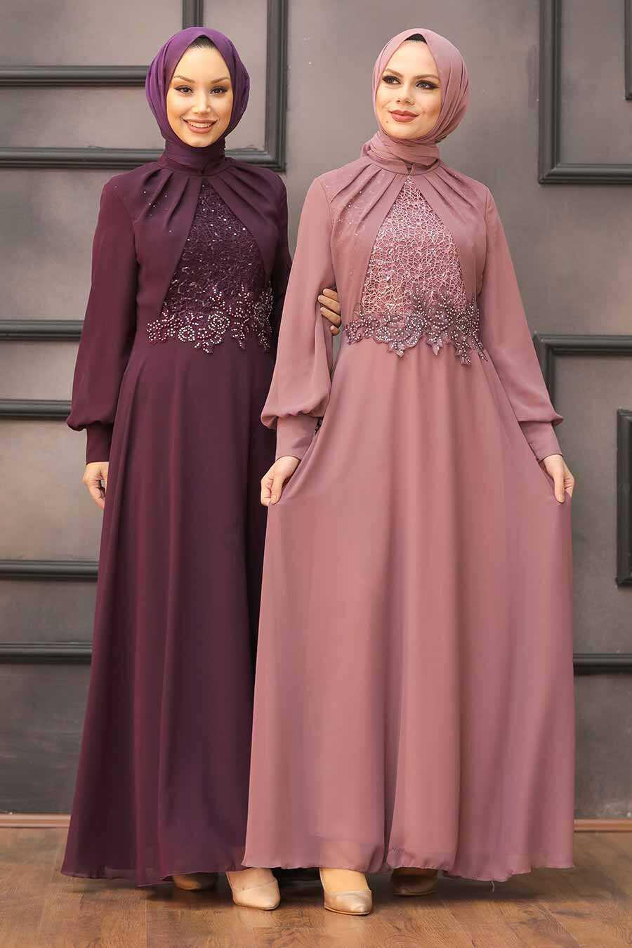 Plum Color Hijab Evening Dress 52785MU