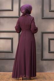 Plum Color Hijab Evening Dress 52785MU - Thumbnail