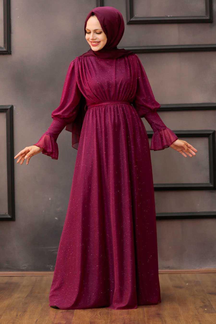 Plum Color Hijab Evening Dress 5367MU