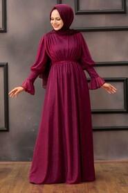 Plum Color Hijab Evening Dress 5367MU - Thumbnail