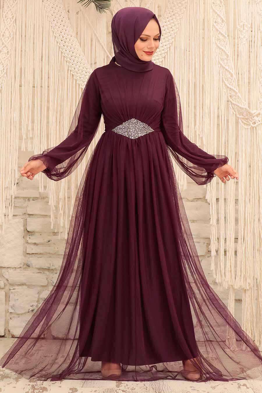 Plum Color Hijab Evening Dress 54230MU